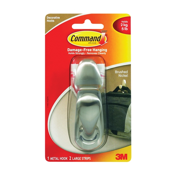 Picture of Command Forever Classic FC13-BN Decorative Hook, 5 lb, 1-Hook, Metal, Brushed Nickel, 3, Pack