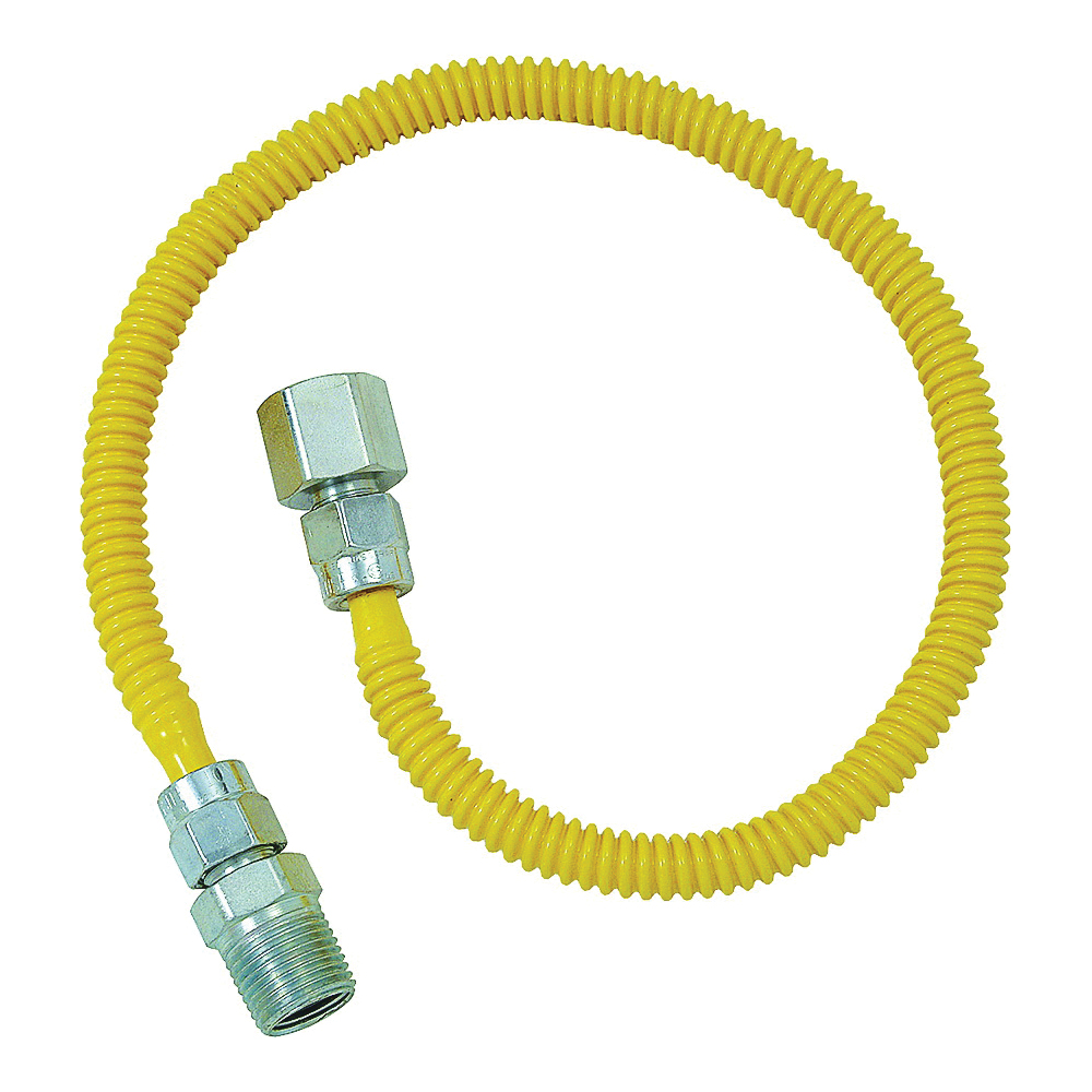 Picture of BrassCraft ProCoat CSSD54-24 Gas Connector, 1/2 in Inlet, 1/2 in Outlet, 24 in L