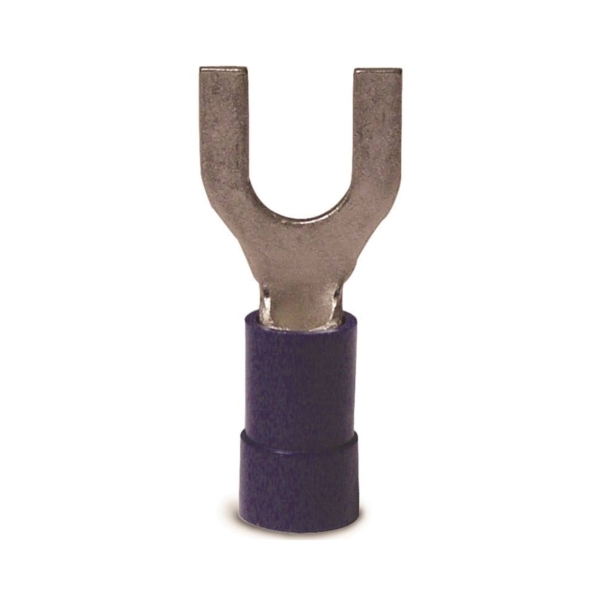 Picture of GB 10-113 Spade Terminal, 600 V, 16 to 14 AWG Wire, #4 to 6 Stud, Vinyl Insulation, Blue, 100/Clam