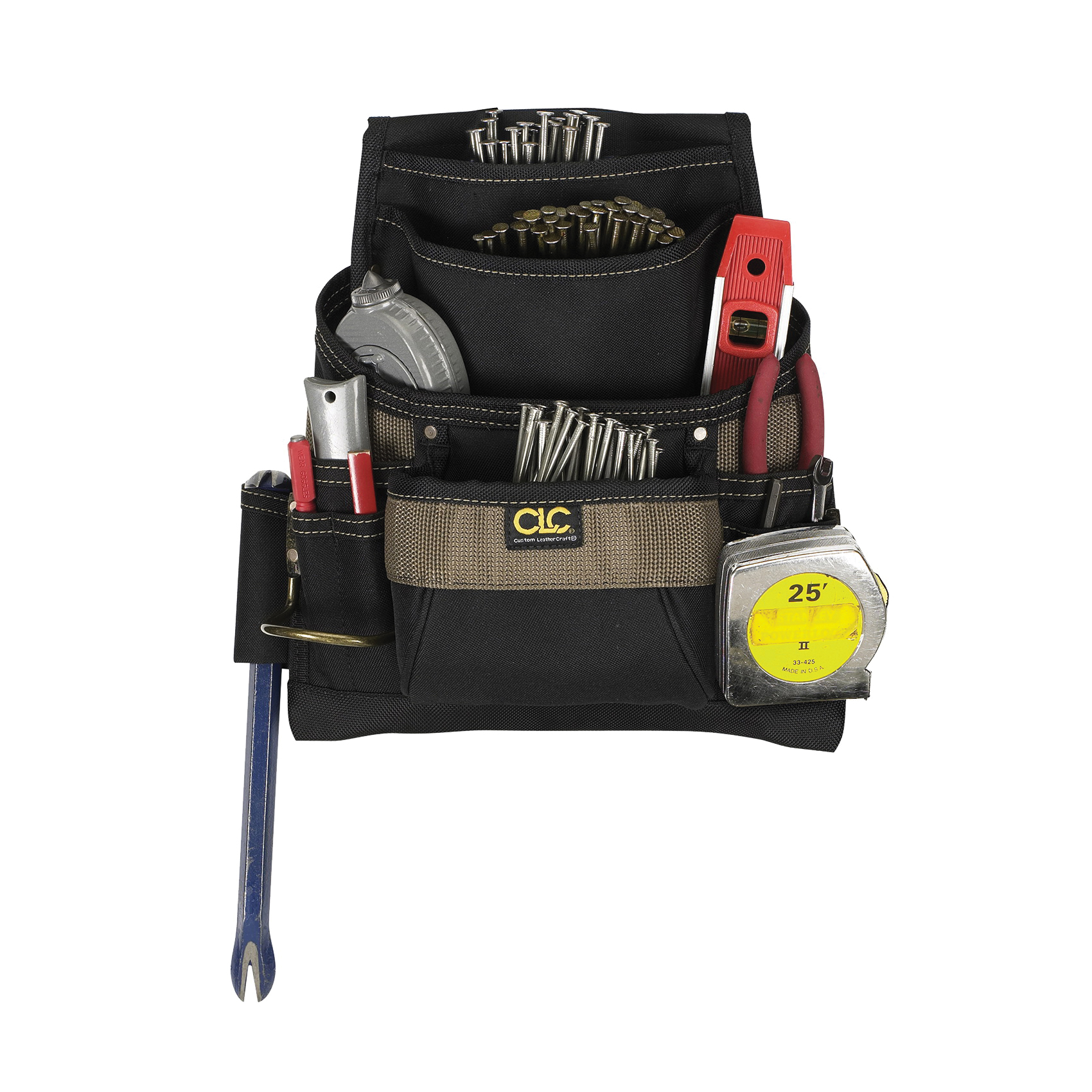 Picture of CLC Tool Works 1620 Nail/Tool Bag, 12-3/4 in W, 3-1/4 in D, 13-3/4 in H, 11 -Pocket, Polyester, Black/Brown