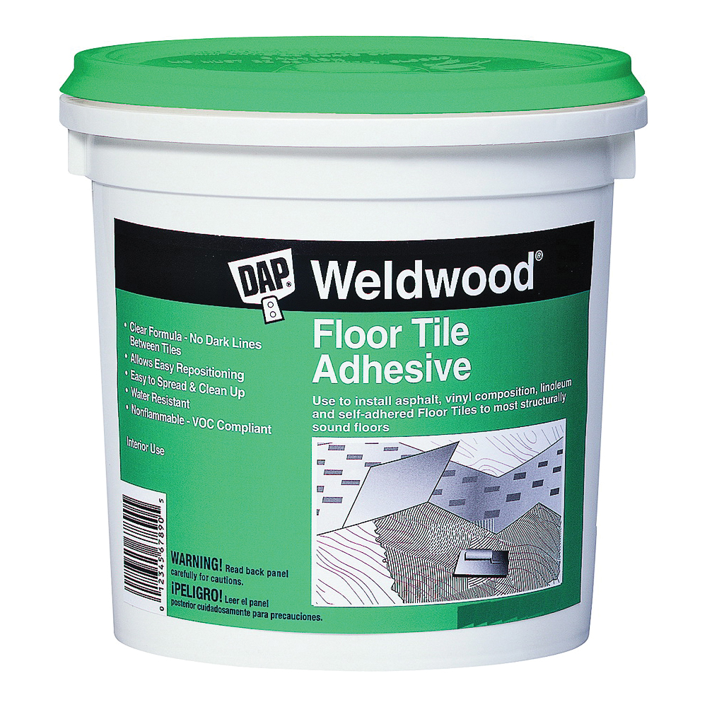 Picture of DAP Weldwood 00136 Floor Tile Adhesive, Paste, Slight, Clear, 1 qt Package, Pail