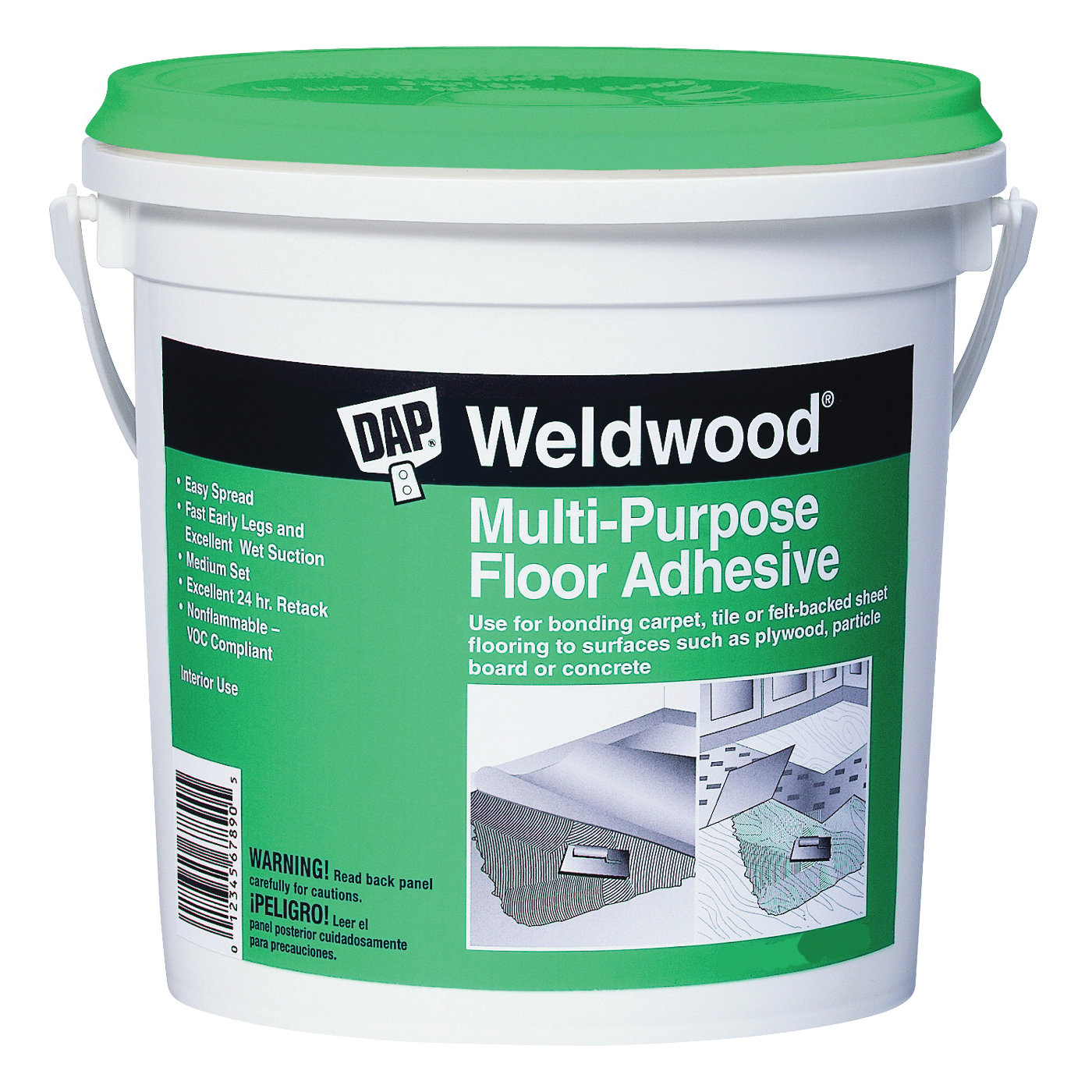 Picture of DAP Weldwood 00141 Floor Adhesive, Paste, Slight, Off-White, 1 qt Package, Pail