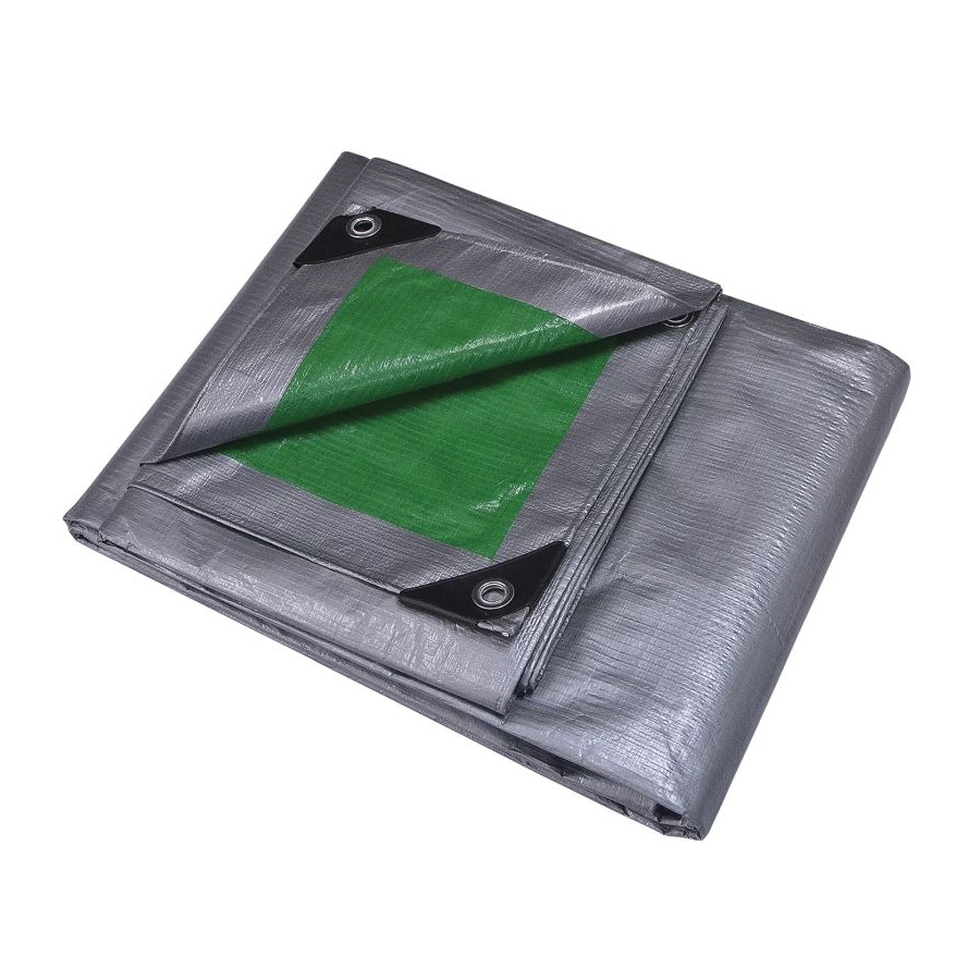 Picture of ProSource T0608GS140 Tarpaulin, 8 ft L, 6 ft W, 8 mil Thick, Polyethylene, Green/Silver