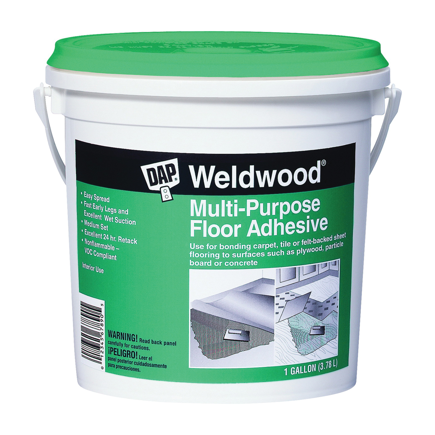 Picture of DAP Weldwood 00142 Floor Adhesive, Paste, Slight, Off-White, 1 gal Package, Pail