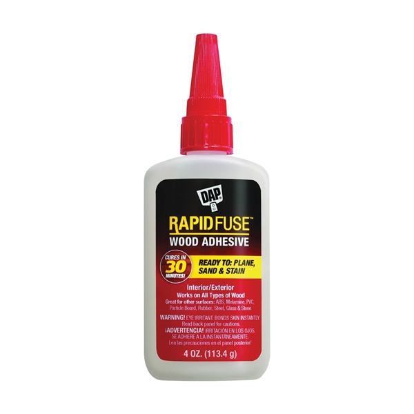 Picture of DAP RapidFuse 00157 Wood Adhesive, Clear, 4 oz Package, Bottle