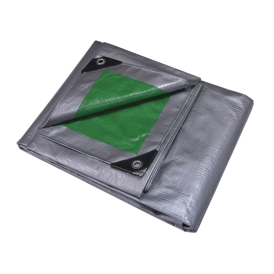 Picture of ProSource T0510GS140 Tarpaulin, 10 ft L, 8 ft W, 8 mil Thick, Polyethylene, Green/Silver
