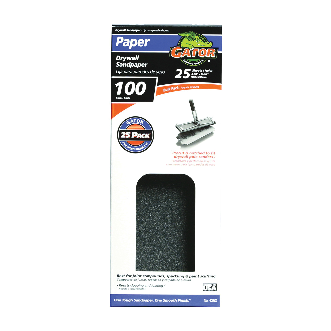 Picture of Gator 3311 Sanding Sheet, 11 in L, 4-3/8 in W, 100 Grit, Medium, Silicone Carbide Abrasive