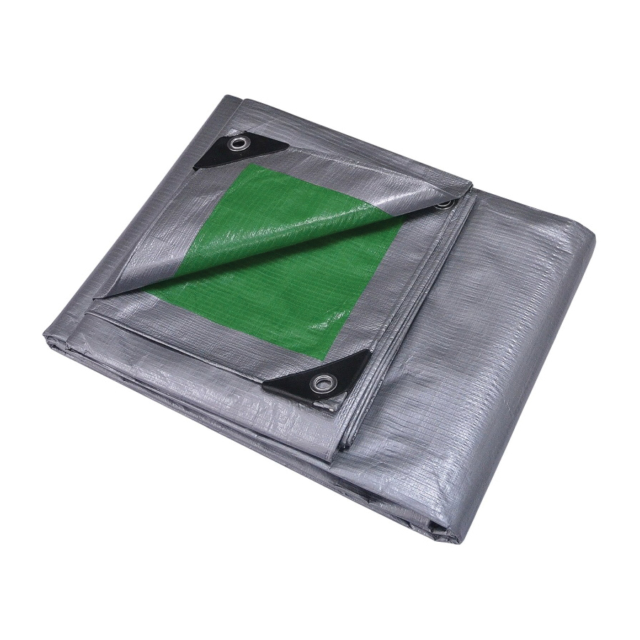 Picture of ProSource T0912GS140 Tarpaulin, 12 ft L, 9 ft W, 8 mil Thick, Polyethylene, Green/Silver
