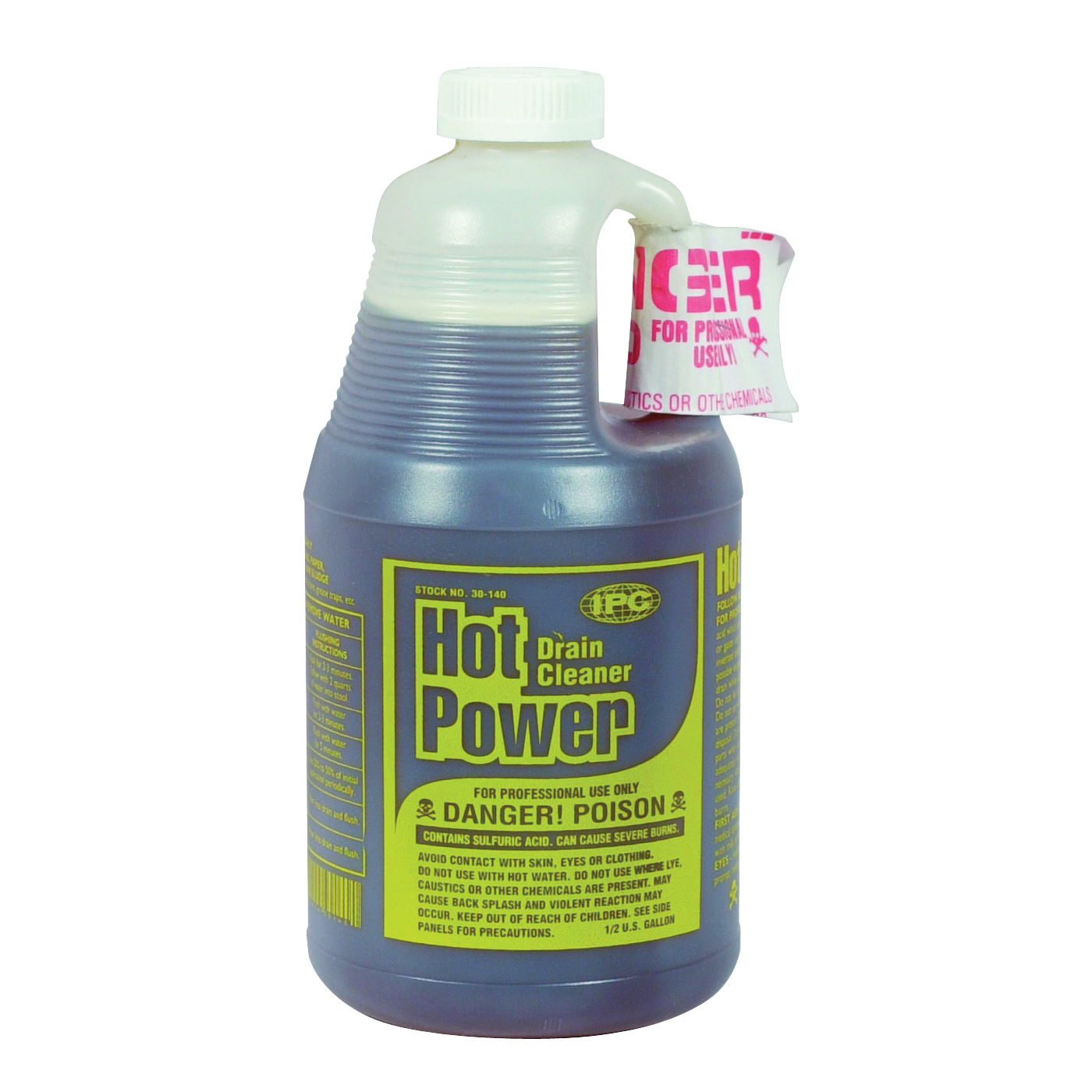 Picture of ComStar Hot Power 30-140 Drain Cleaner, Liquid, Amber, Sharp, 0.5 gal Package, Bottle