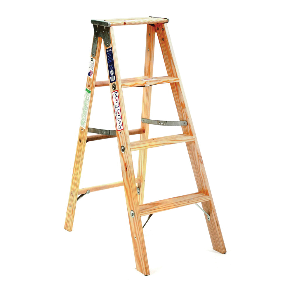 Picture of MICHIGAN LADDER 1311-04 Step Ladder, 250 lb, Type I Duty Rating, Wood, Silk