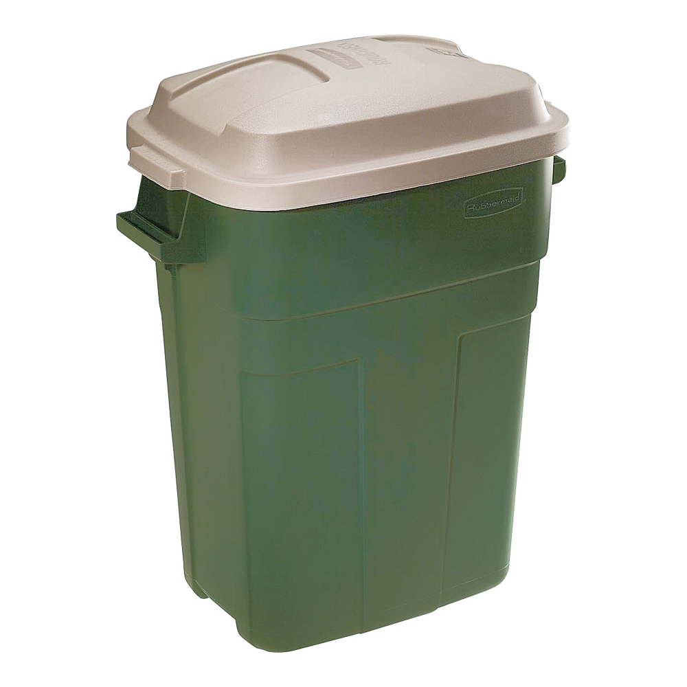 Picture of Rubbermaid 297900EGRN Trash Can, 30 gal Capacity, Plastic, Evergreen, Snap-Fit Lid Closure