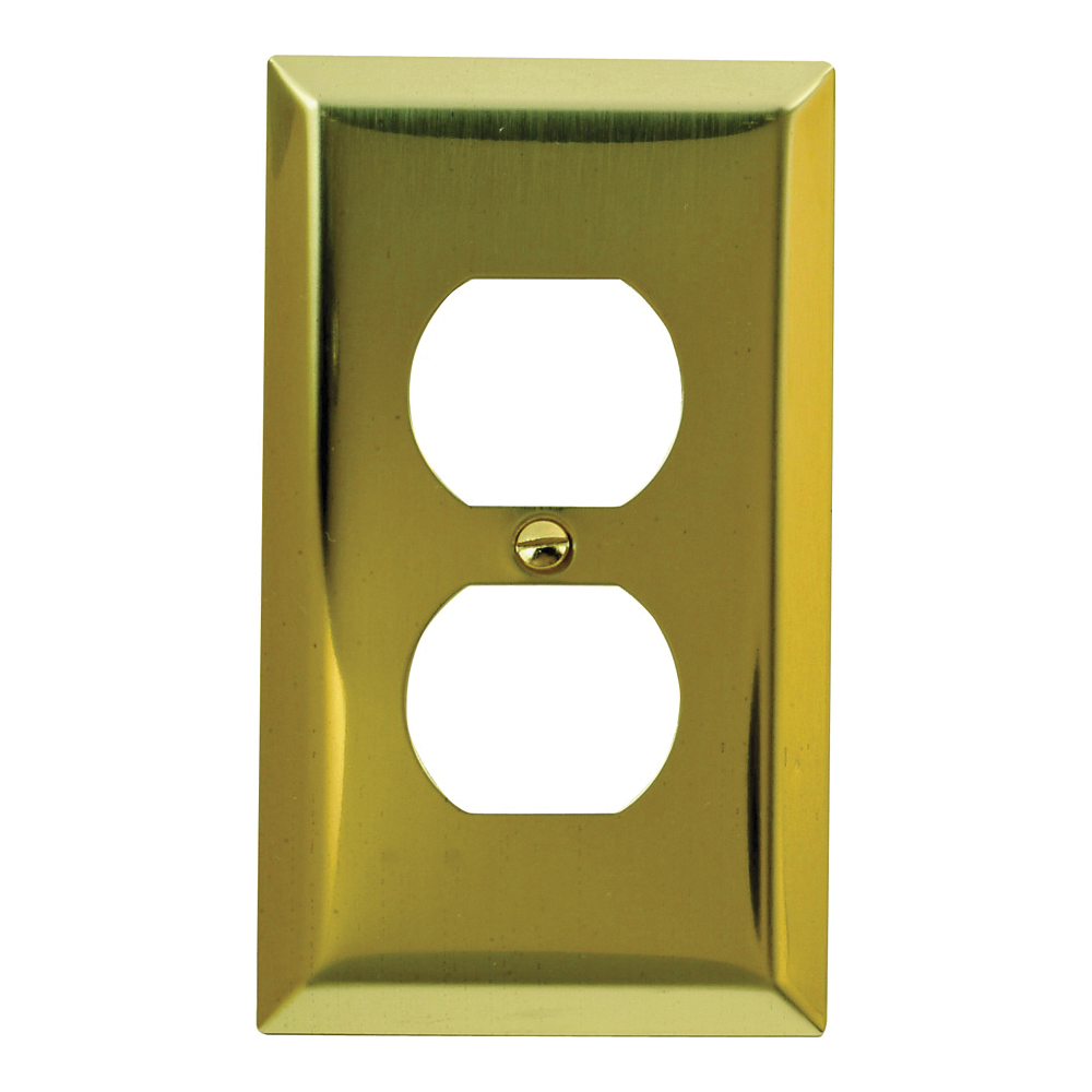 Picture of Amerelle 163DBR Duplex Receptacle Wallplate, 4-5/16 in L, 2-7/8 in W, 1-Gang, Steel, Polished Brass