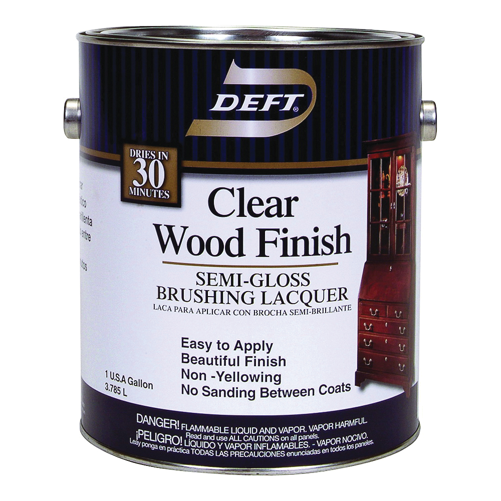 Picture of DEFT 011-01 Brushing Lacquer, Semi-Gloss, Liquid, Clear, 1 gal, Can