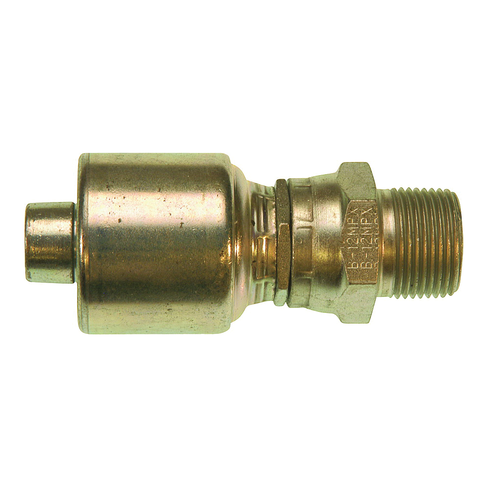 Picture of GATES MegaCrimp G25105-0806 Hose Coupling, 3/8-18, Crimp x NPTF, Straight Angle, Steel, Zinc
