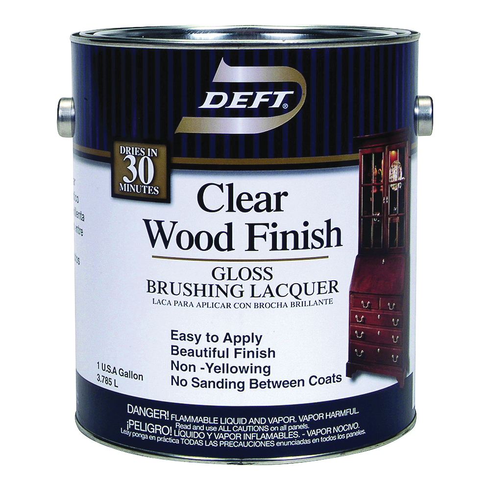 Picture of DEFT 010-01 Brushing Lacquer, Gloss, Liquid, Clear, 1 gal, Can