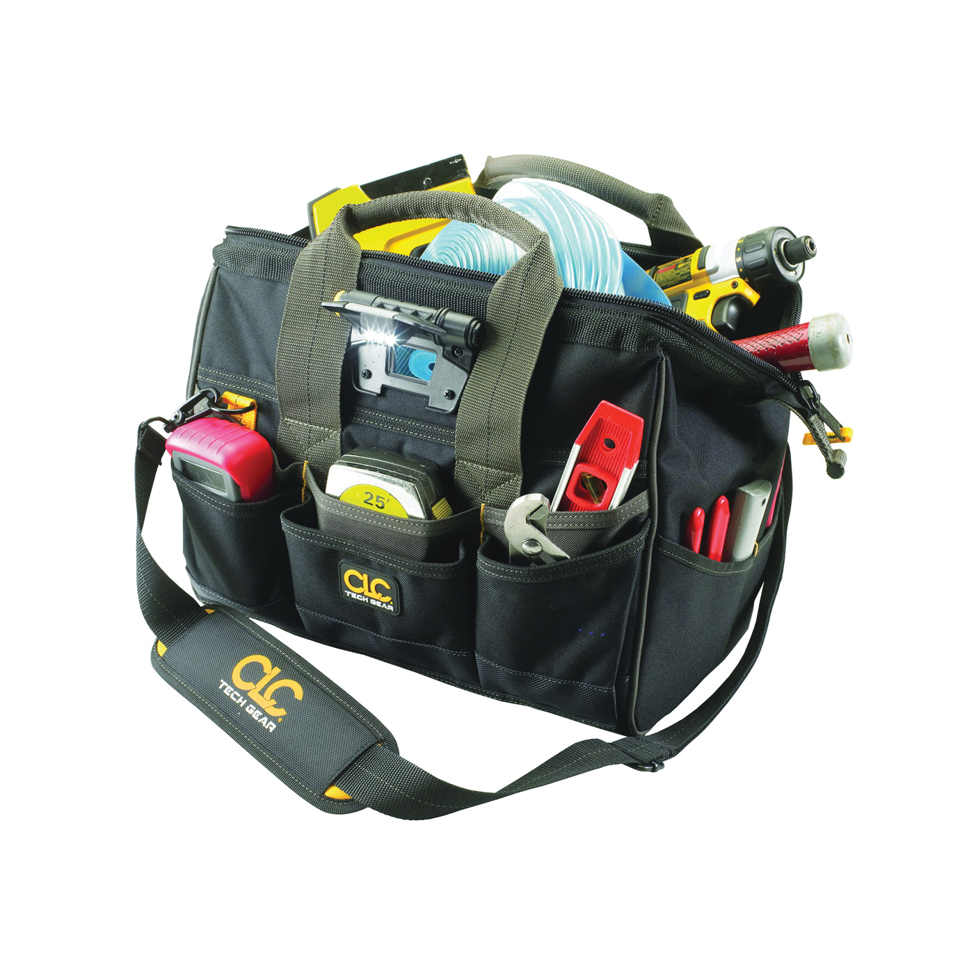 Picture of CLC Tech Gear BIGMOUTH L230 Tool Bag with Integrated LED Light, 8 in W, 11-1/2 in D, 14 in H, 29 -Pocket, Polyester