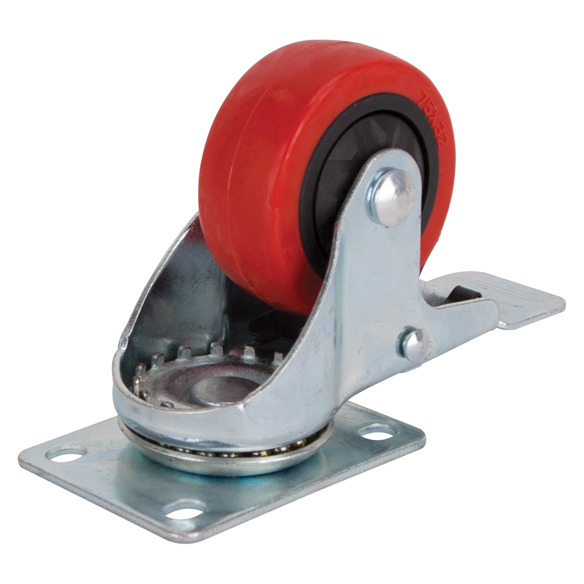 Picture of ProSource JC-386-G Swivel Caster with Brake, 3 in Dia Wheel, Polyurethane Wheel, Red, 176 lb