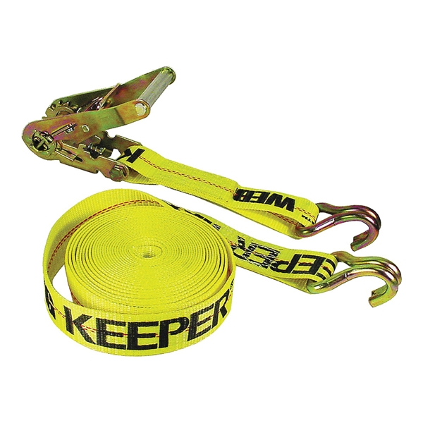 Picture of KEEPER 04624 Tie-Down, 2 in W, 40 ft L, Polyester, Yellow, 3333 lb, J-Hook End Fitting, Steel End Fitting