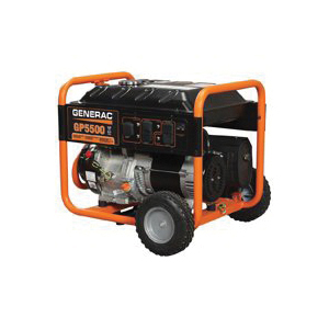 Picture of GENERAC 5975 Portable Generator, 45.8/22.9 A, 120/240 V, Gas, 6.8 gal Tank, 11 hr Run Time, Recoil Start