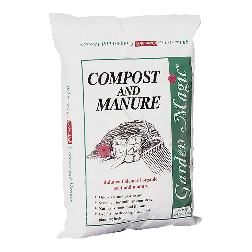 Picture of Garden Magic 5240 Compost and Manure, Solid, Dark Brown/Light Brown, Faint Soil, 40 lb Package, Bag