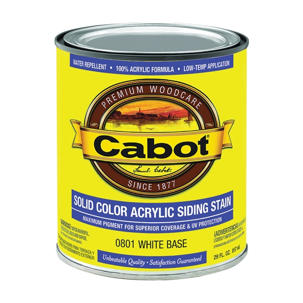 Picture of Cabot 800 Series 801-1QT Solid Color Siding Stain, Natural Flat, Liquid, 1 qt, Can