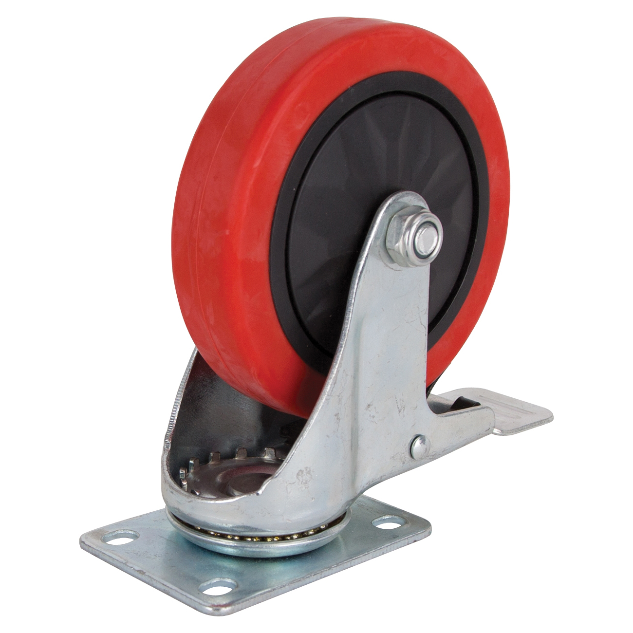 Picture of ProSource JC-388-G Swivel Caster with Brake, 5 in Dia Wheel, Polyurethane Wheel, Red, 275 lb