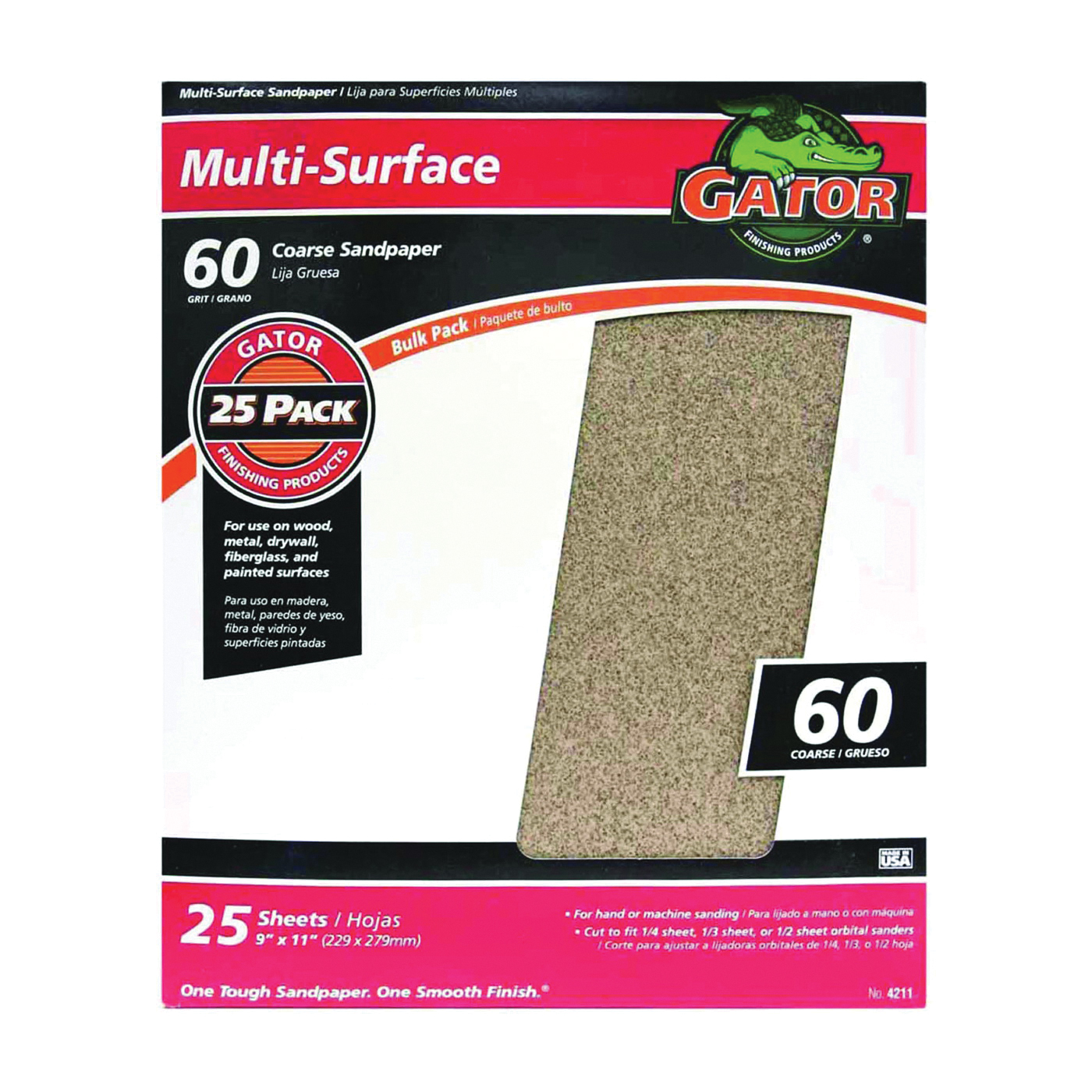 Picture of Gator 3266 Sanding Sheet, 11 in L, 9 in W, 60 Grit, Coarse, Aluminum Oxide Abrasive