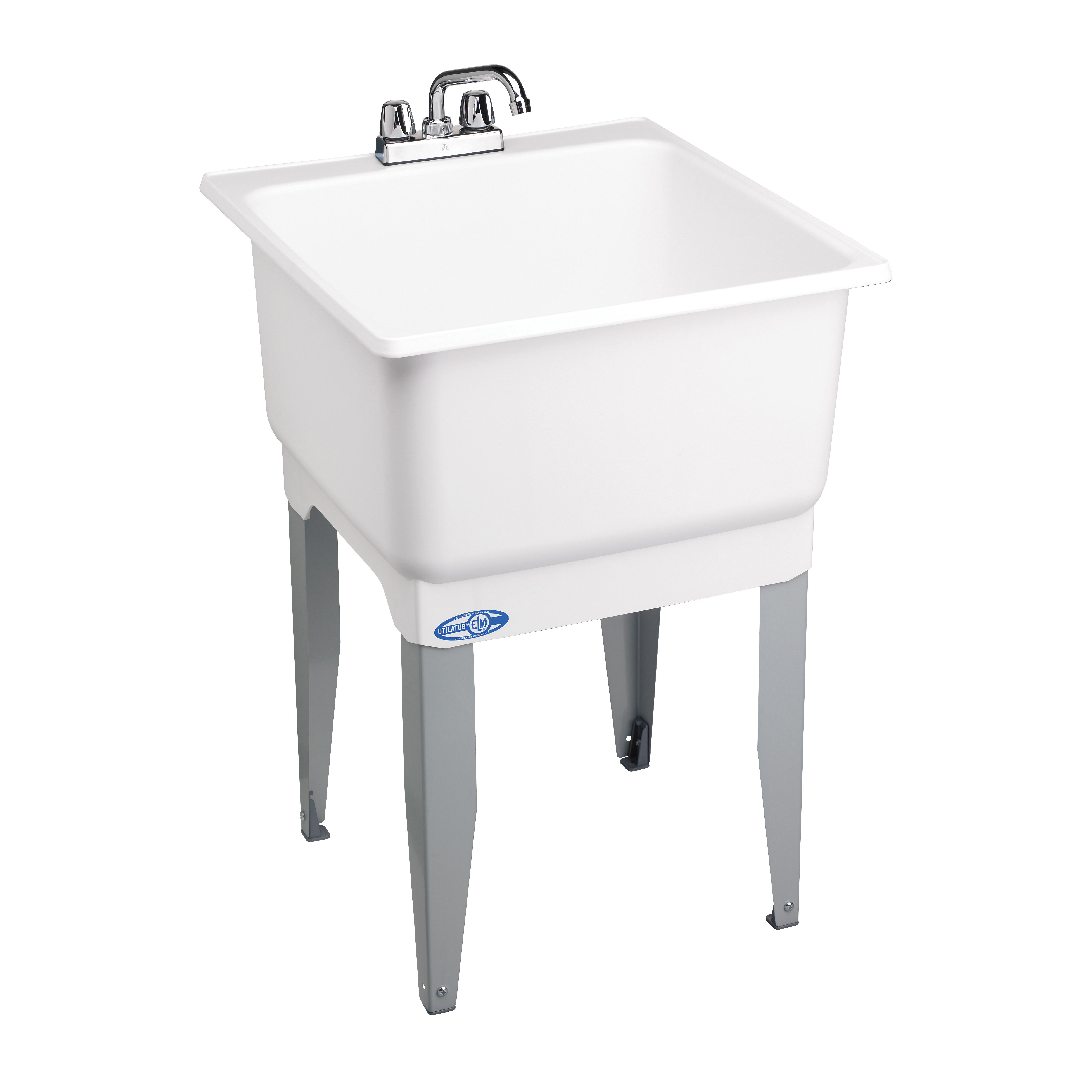 Picture of ELM UTILATUB 14CP Laundry Tub Combo Kit, 20 gal Capacity, 33 in OAH, Polypropylene, White, Floor Mounting, 1-Bowl