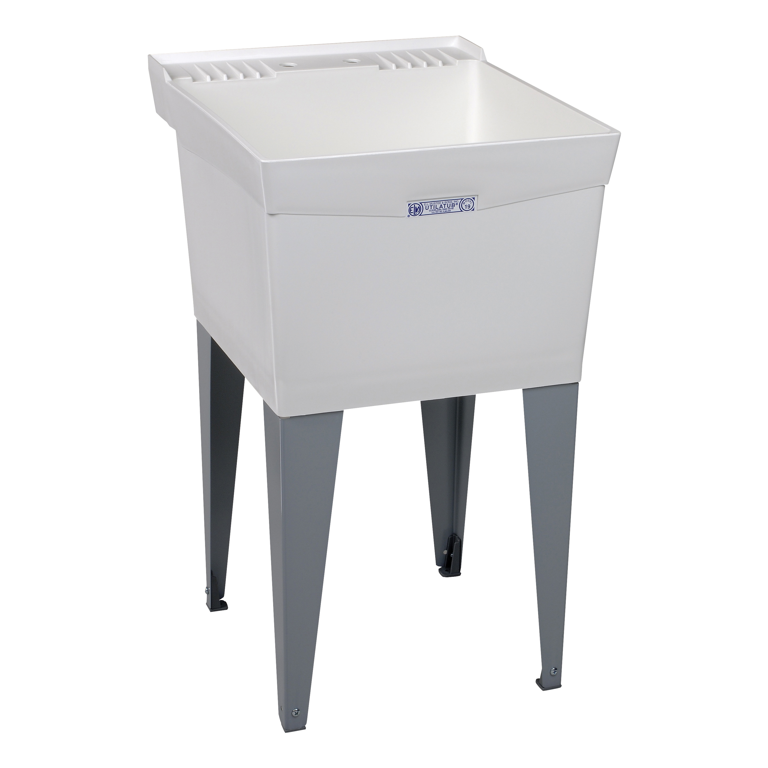 Picture of ELM UTILATUB 19F Laundry Tub, 18 gal Capacity, 2-Deck Hole, 24 in OAW, 24 in OAD, 20 in OAH, Thermoplastic