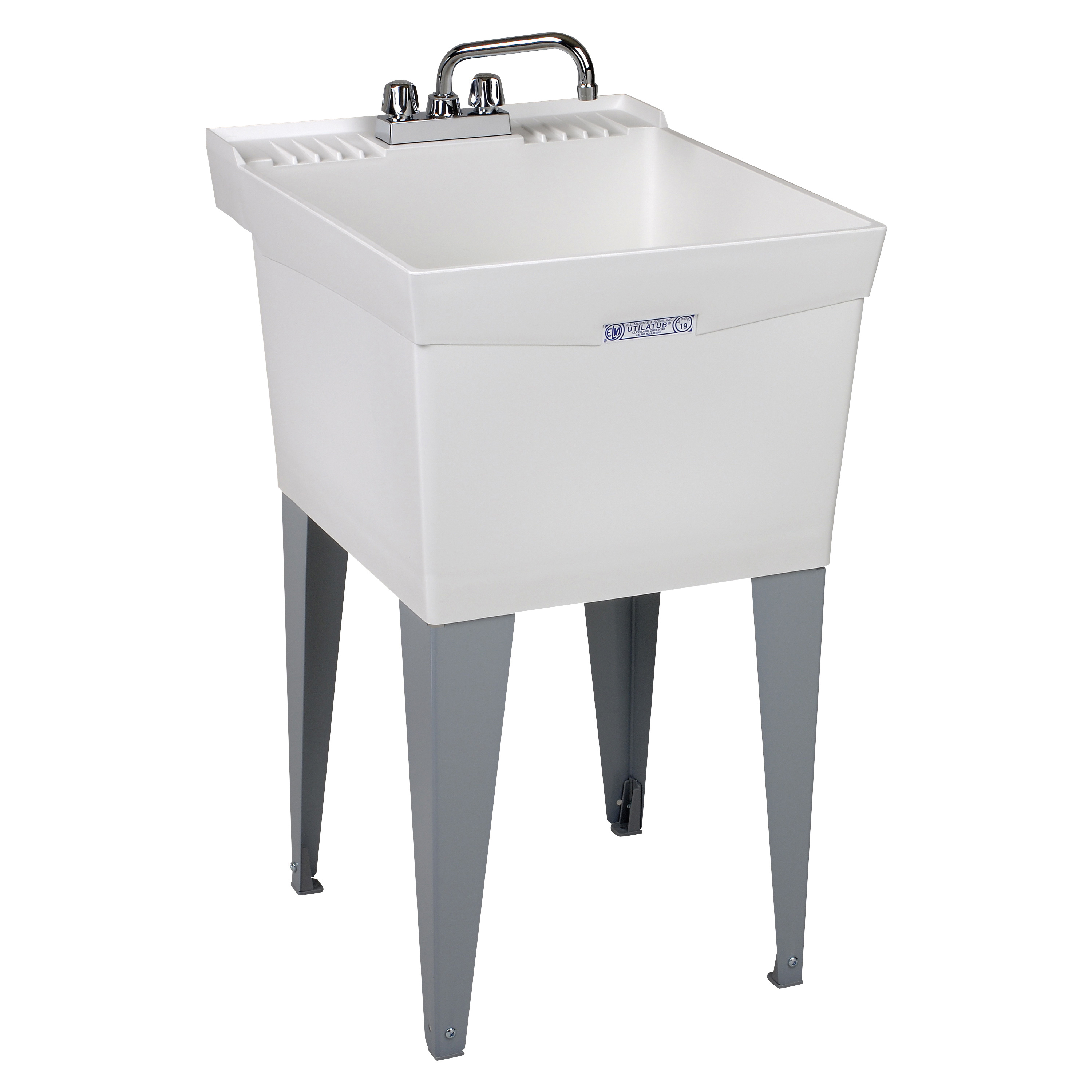 Picture of ELM UTILATUB 19CF Laundry Tub Combo Kit, 18 gal Capacity, 2-Deck Hole, 24 in OAW, 24 in OAD, 20 in OAH, White