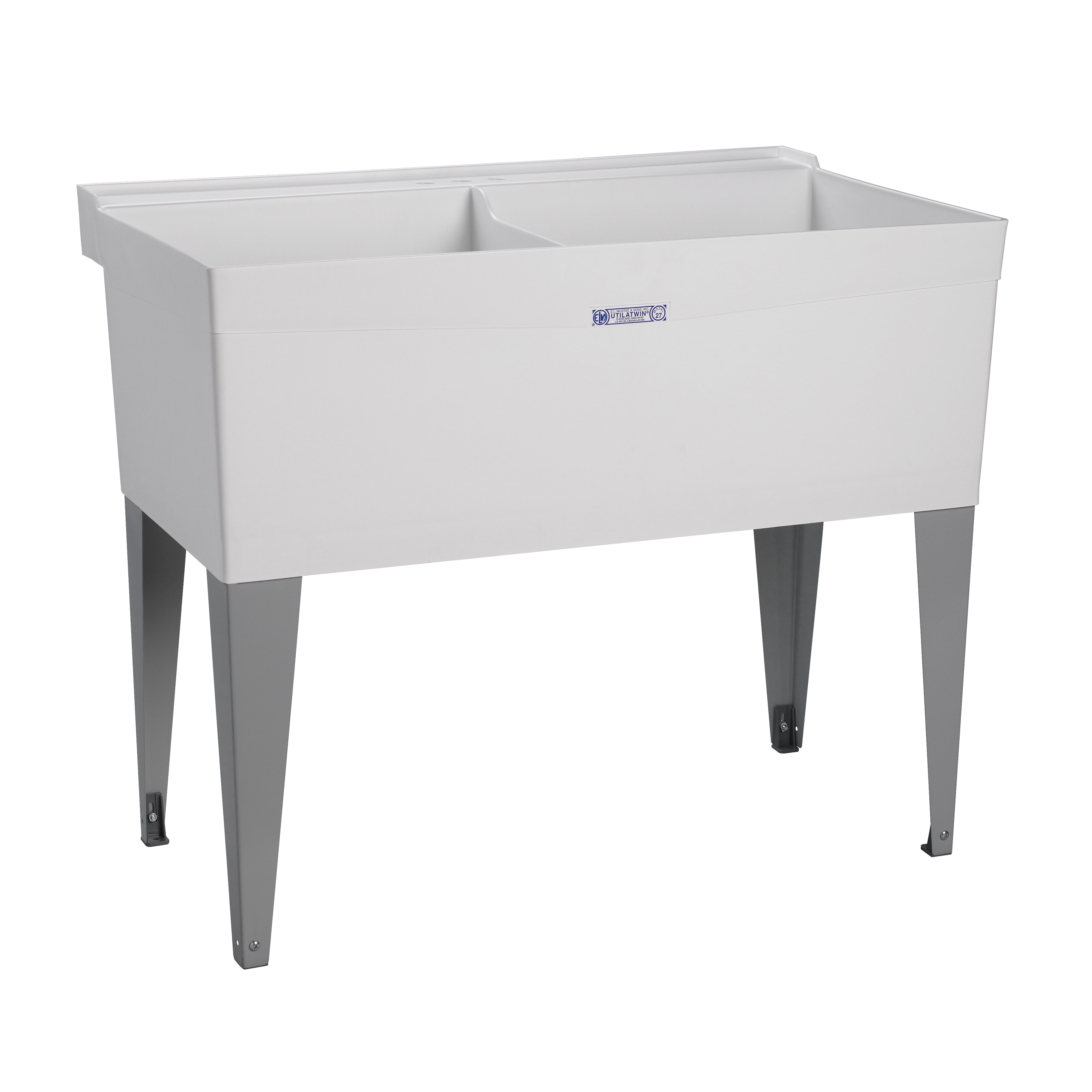 Picture of ELM UTILATUB 27F Laundry Tub, 38 gal Capacity, 2-Deck Hole, 40 in OAW, 34 in OAD, 24 in OAH, Thermoplastic