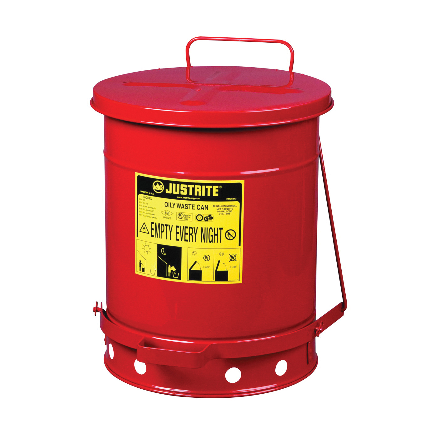 Picture of JUSTRITE 09300 Waste Can, 10 gal Capacity, Steel, Red, Foot-Operated Self-Closing Closure