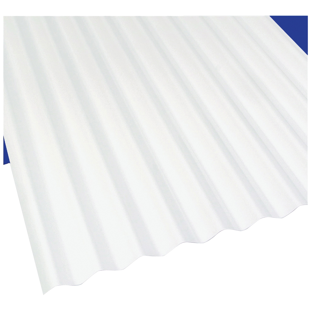 Picture of Sun N Rain 103694 Corrugated Roofing Panel, 12 ft L, 26 in W, PVC, White