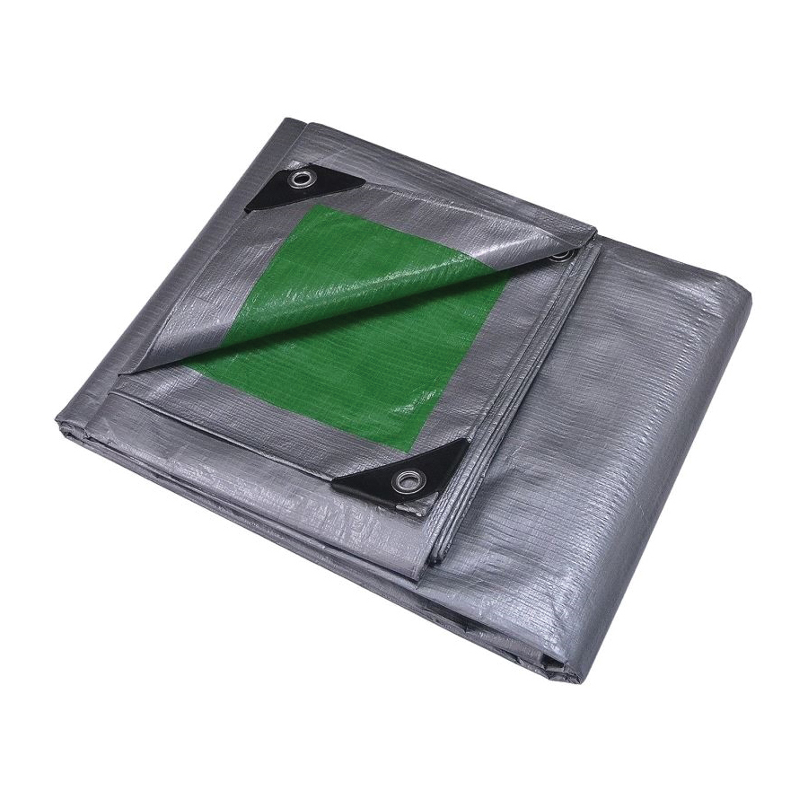 Picture of ProSource T2030GS140 Tarpaulin, 30 ft L, 20 ft W, 8 mil Thick, Polyethylene, Green/Silver