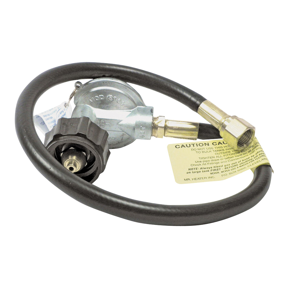 Picture of Mr. Heater F271161 Hose and Regulator Assembly, 3/8 in Connection, 22 in L Hose, Brass