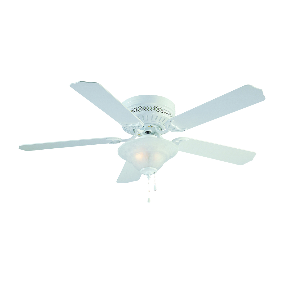 Picture of Boston Harbor CF-B-652+1F242WH Low Profile Ceiling Fan, 0.8 A, 120 V, 5-Blade, 52 in Sweep, 2603 cfm Air