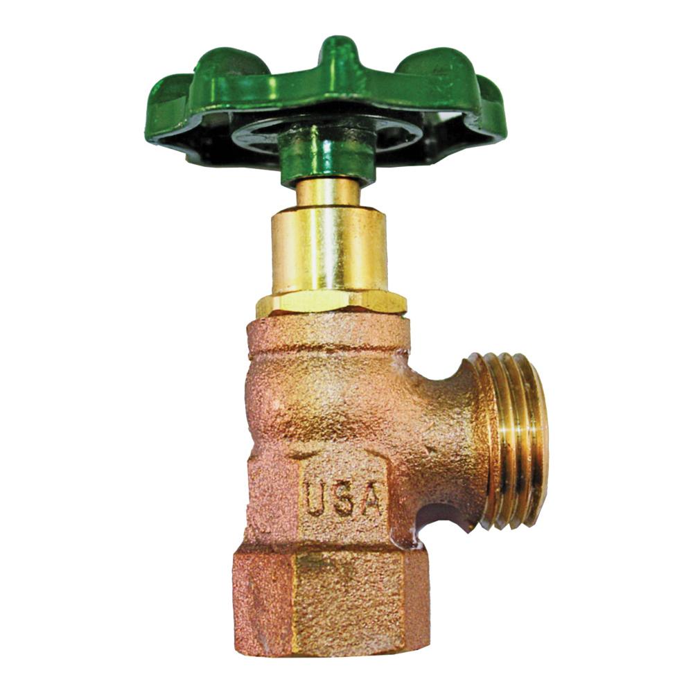 Picture of Arrowhead Brass 222LF Boiler Drain Valve, 1/2 x 3/4 in Connection, FIP x Hose, 125 psi Pressure, Bronze Body