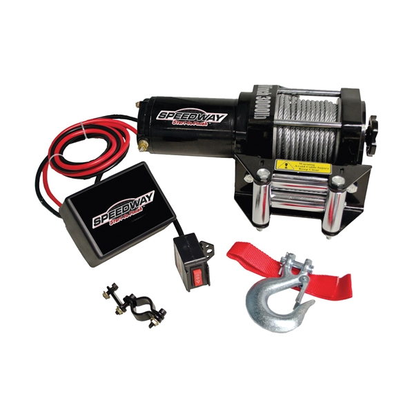 Picture of Speedway 7253 Electric Wench, 3000 lb Pull, 12 V, 1.12 hp, 3/16 in Dia Wire Rope, 40 ft L Wire Rope