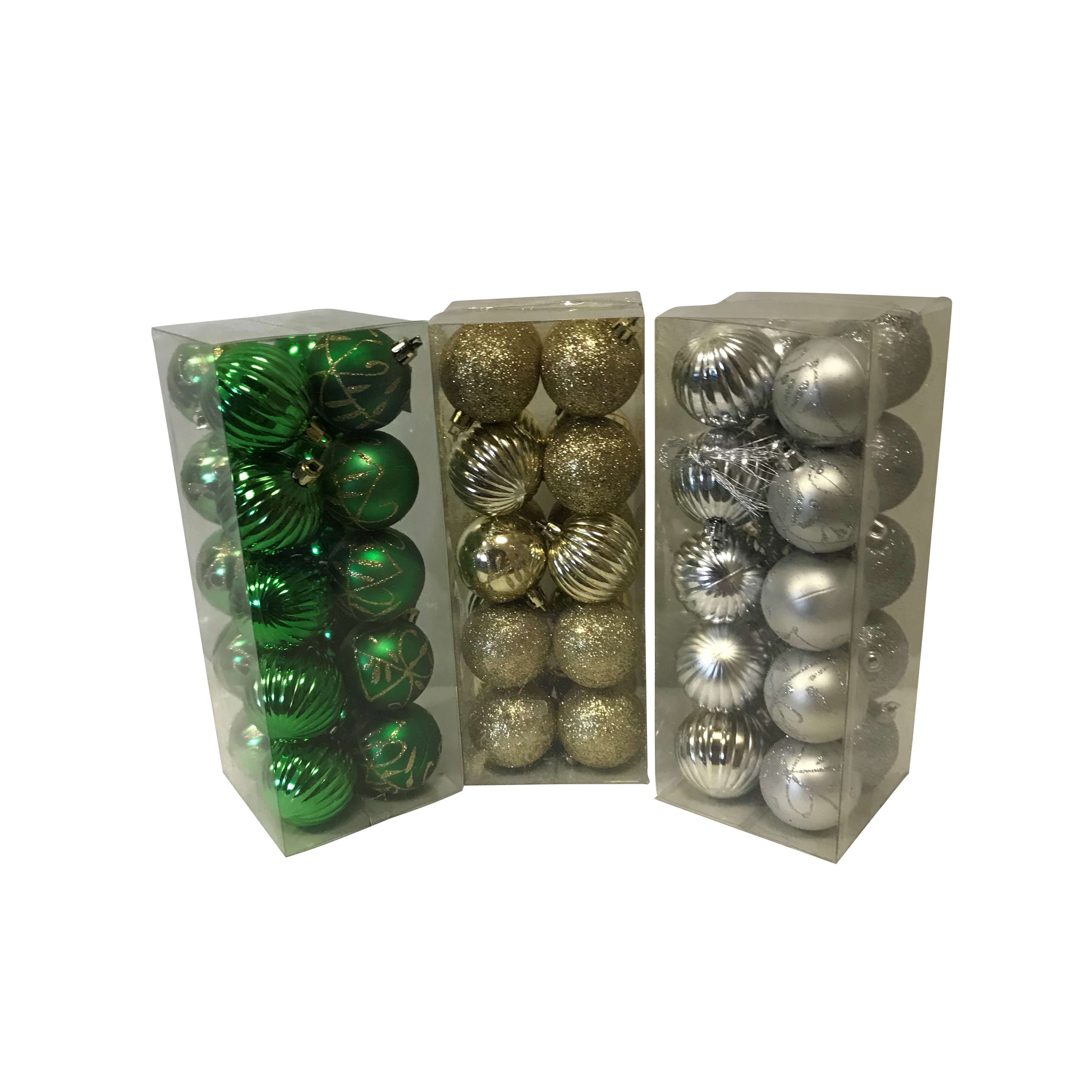 Picture of Santas Forest 99913 Shatterproof Decorated Ball Ornament, 50 mm H, Christmas Ornaments, PVC, 20, Acetate Box