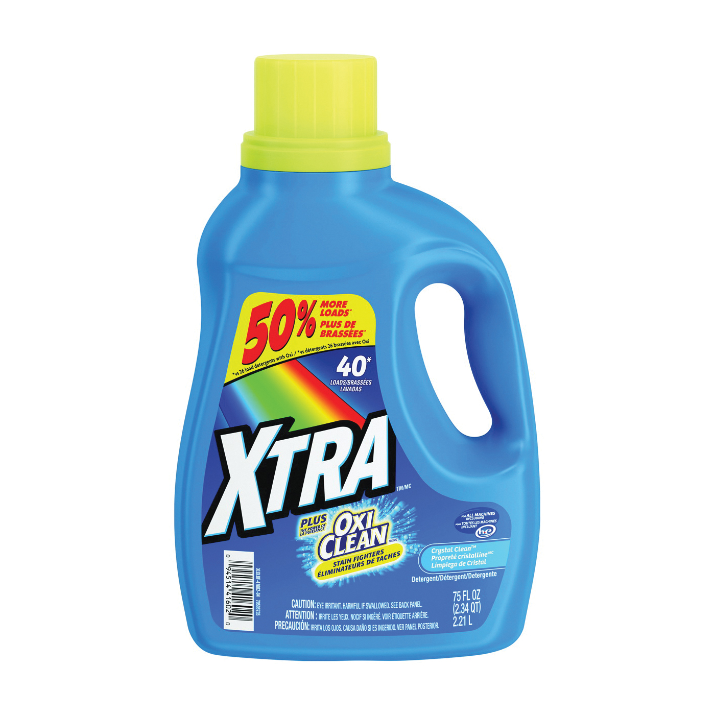 Picture of XTRA 41602 Laundry Detergent, 75 oz, Bottle, Liquid, Clean Crystal