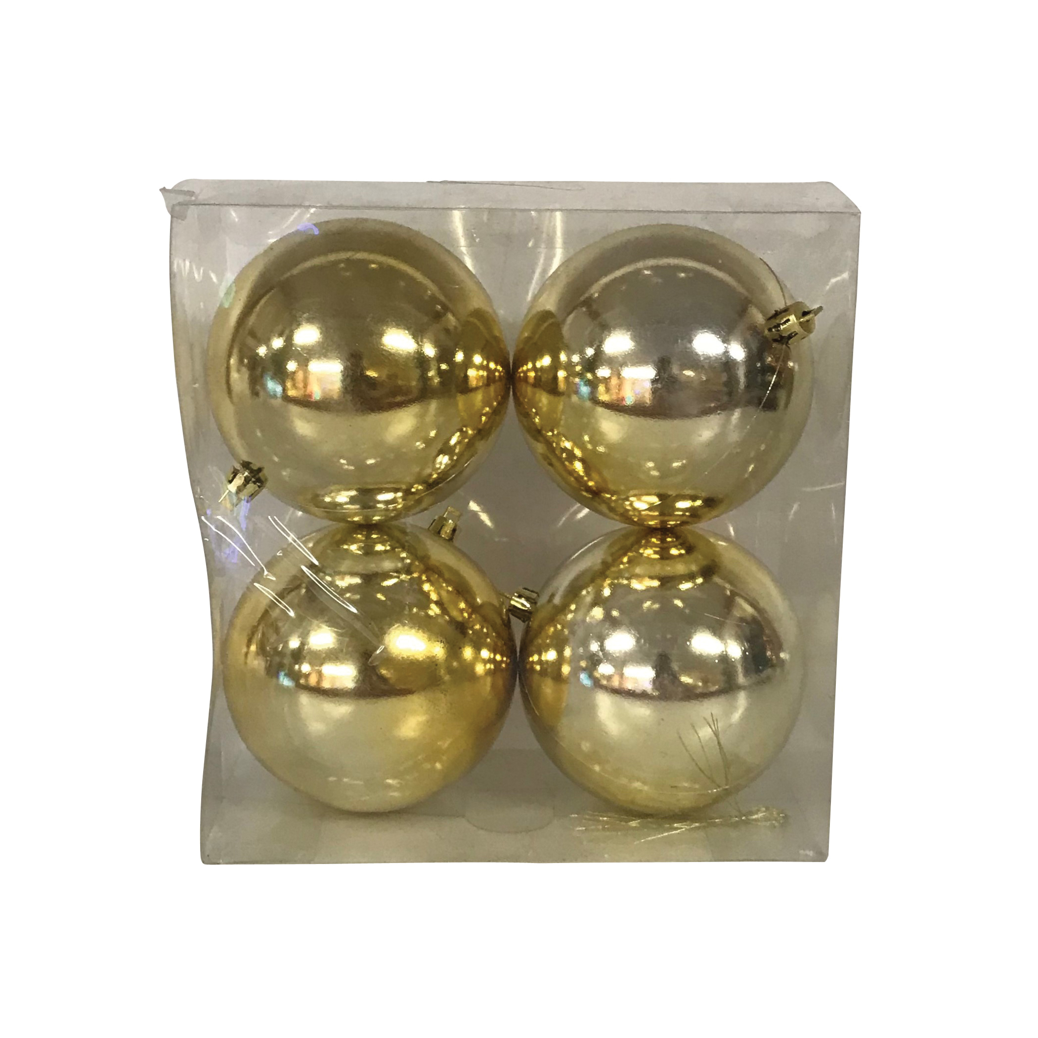 Picture of Santas Forest 99925 Shatterproof Shiny Ball Ornament, 100 mm H, Christmas Ornaments, PVC, Assorted, 4, Acetate Box