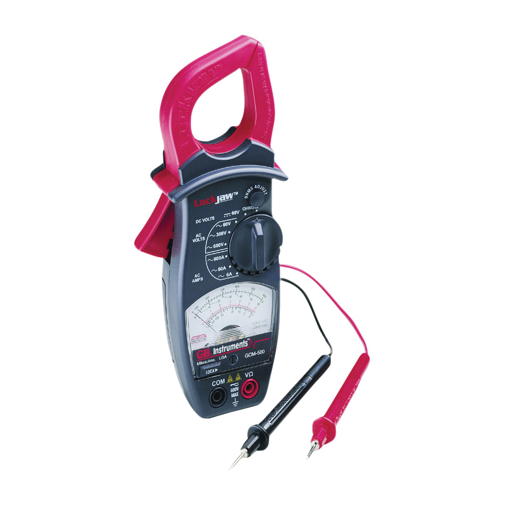 Picture of GB GCM-500 Clamp Meter, 600 A, 600 VAC, 60 VDC, 1000 Ohm, Analog Display, Black