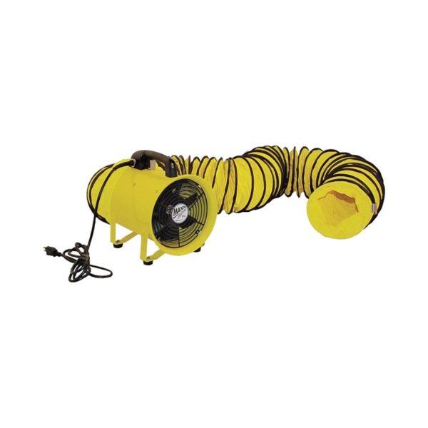 Picture of MaxxAir HVHF 12COMBO Confined Space Ventilator and Polyvinyl Hose, 120 V, 2000 cfm Air, Steel, Industrial Yellow