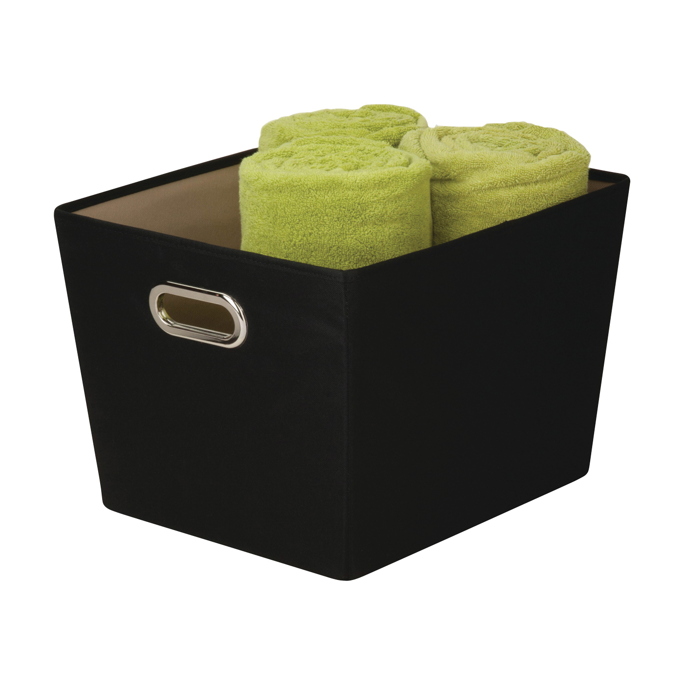 Picture of Honey-Can-Do SFT-03072 Storage Bin with Handle, Polyester, Black, 15-3/4 in L, 13 in W, 10.8 in H