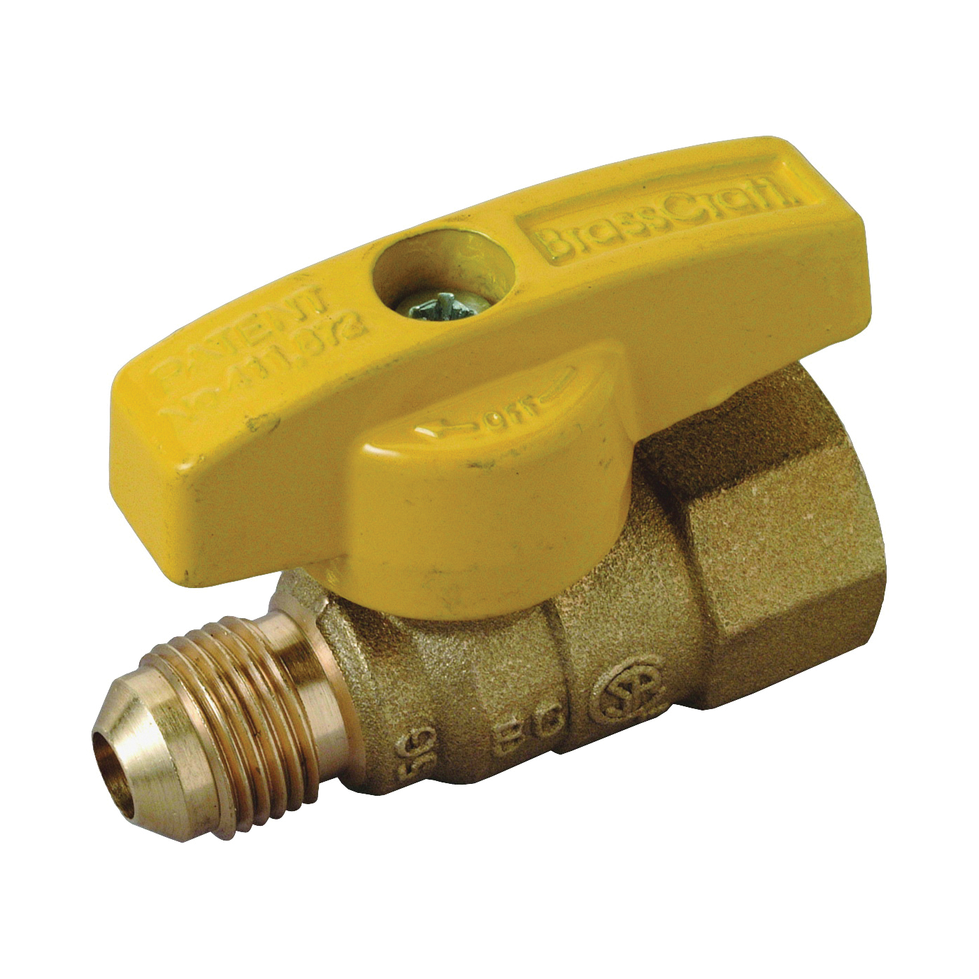 Picture of BrassCraft PSSL-12 Gas Ball Valve, 3/8 x 1/2 in Connection, Flared x FIP, 5 psi Pressure, Brass Body