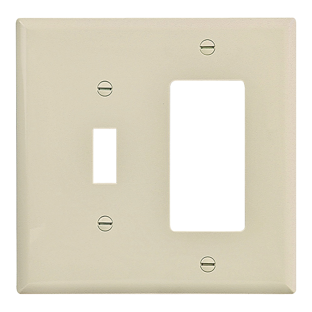 Picture of Eaton Wiring Devices PJ126V-SP-L Wallplate, 4-7/8 in L, 4-15/16 in W, 2-Gang, Polycarbonate, Ivory, High-Gloss