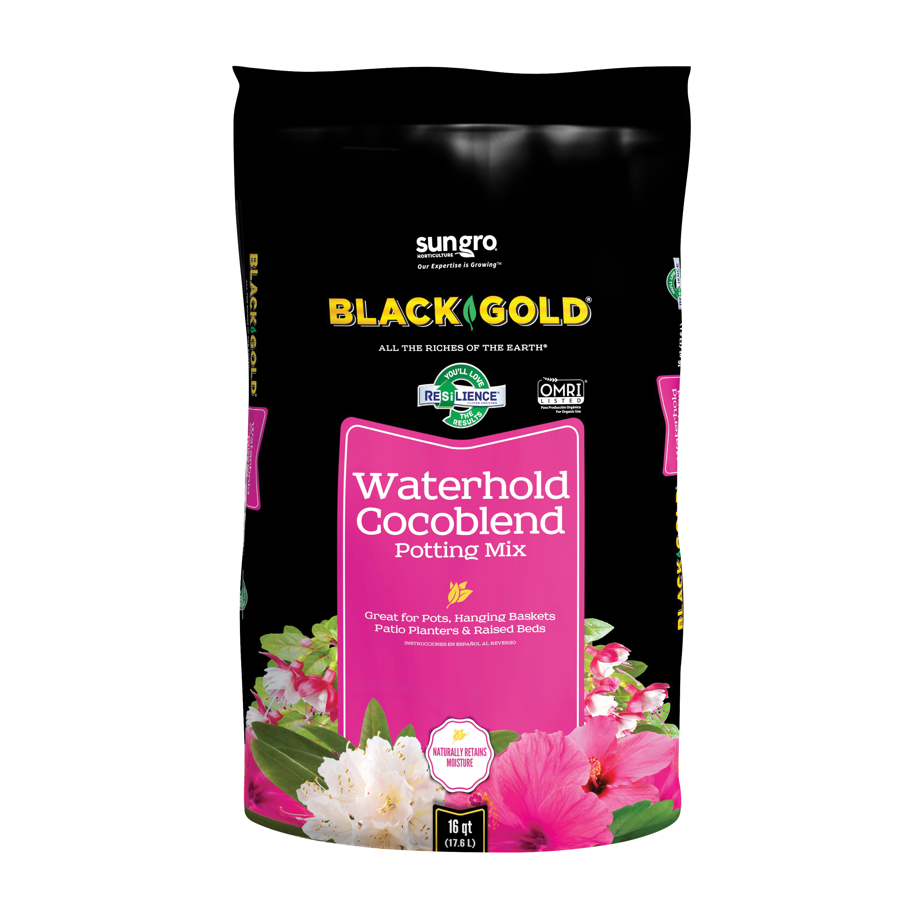 Picture of sun gro BLACK GOLD 1402030 16 QT P Potting Mix, Granular, Brown/Earthy, 120 Package, Bag