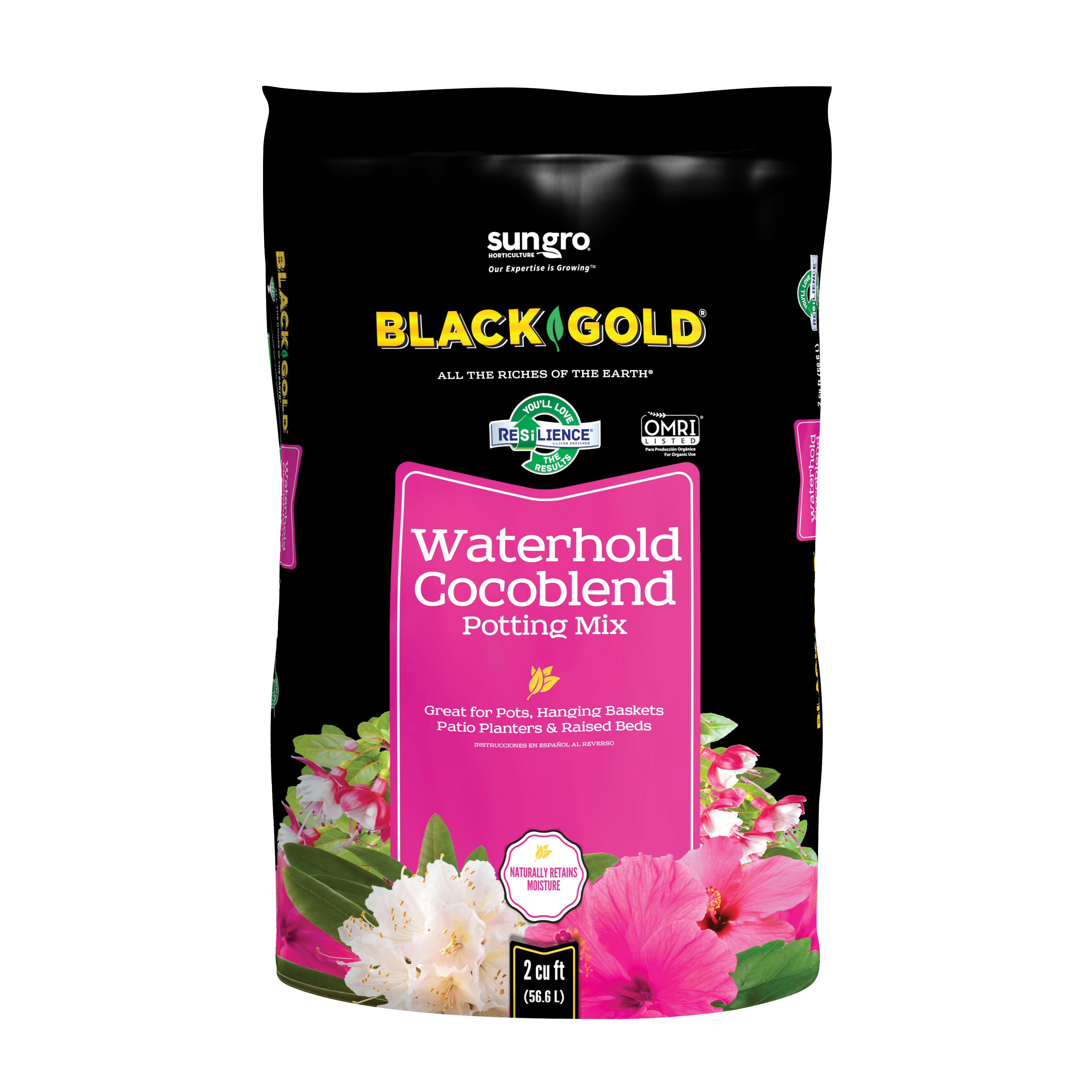 Picture of sun gro BLACK GOLD 1402030 2 CFL P Potting Mix, 2 cu-ft Coverage Area, Granular, Brown/Earthy, 40 Package, Bag