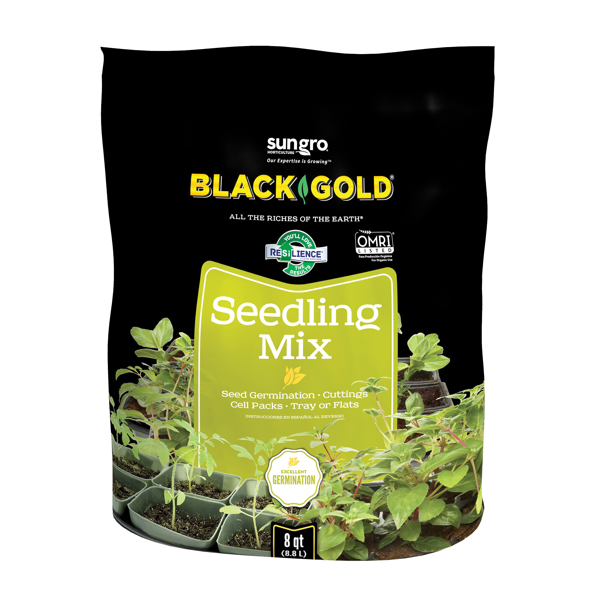 Picture of sun gro BLACK GOLD 1411002 8 QT P Seedling Mix, 8 qt Package, Bag