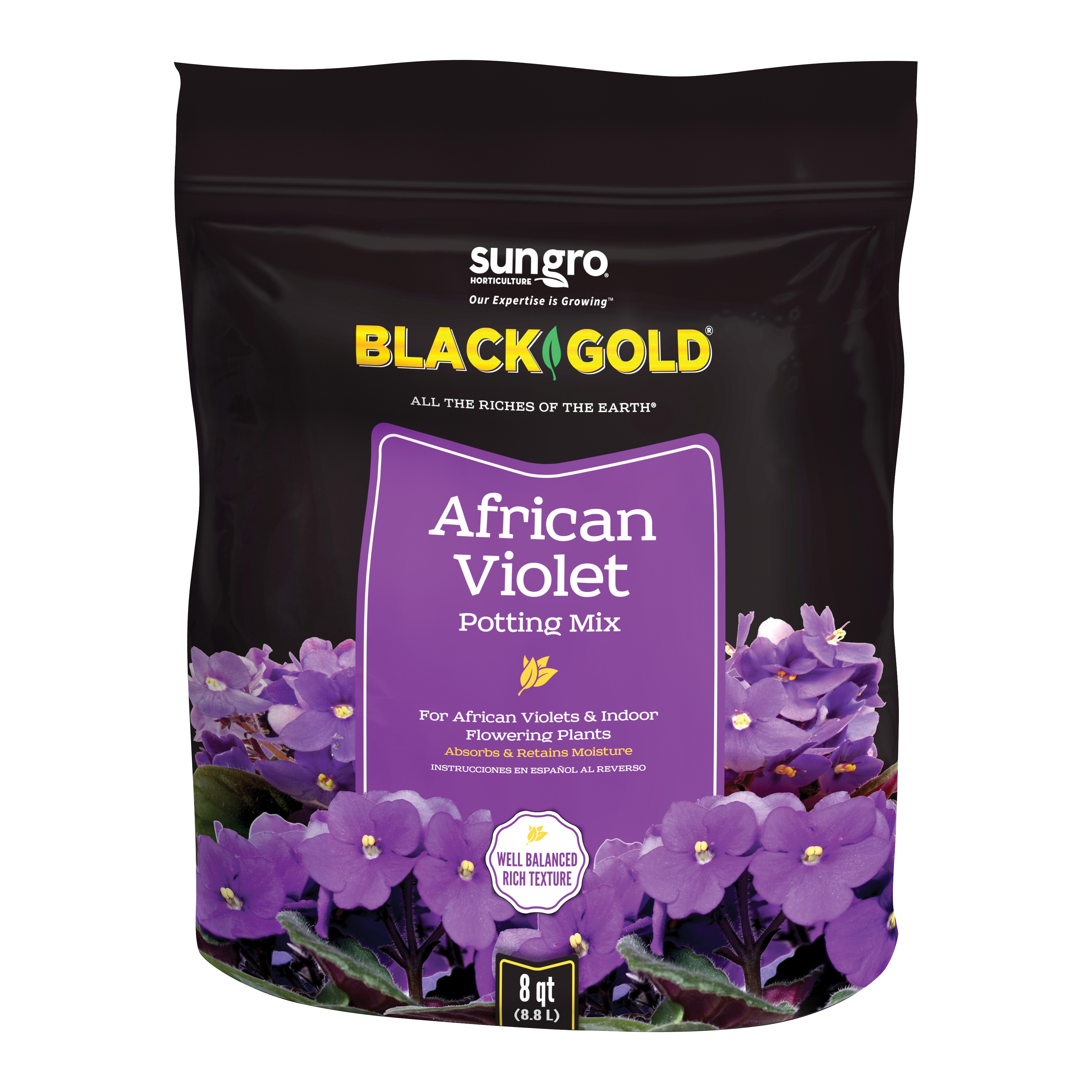 Picture of sun gro BLACK GOLD 1410502 8 QT P African Violet Potting Mix, Granular, Brown/Earthy, 240 Package, Bag